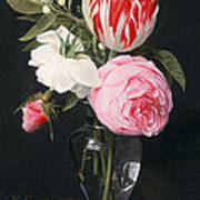 Flowers In A Glass Vase Print by Daniel Seghers