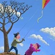 Flying Kite On Windy Day Print by Martin Davey