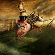 Flying Pig - Steampunk - The Flying Swine Print by Mike Savad