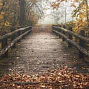 Foggy Lake Park Footbridge Print by Scott Norris