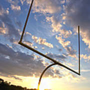 Football Goal At Sunset Print by Olivier Le Queinec