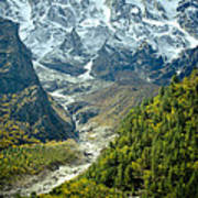 Forest And Mountains In Himalayas Print by Raimond Klavins