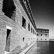 Fort Jefferson Brick Walls With Moat Dry Tortugas National Park Florida Keys Usa Print by Joe Fox
