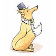 Fox In Top Hat Print by Christy Beckwith