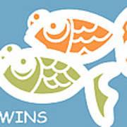 Fraternal Twins - Baby Room Art Print by Nursery Art