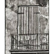 French Quarter Balcony In Black And White Print by Brenda Bryant