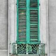 French Quarter Window In Green Print by Brenda Bryant