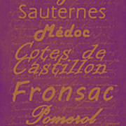 French Wines-3 - Champagne And Bordeaux Region Print by Paulette B Wright