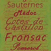French Wines - 4 Champagne And Bordeaux Region Print by Paulette B Wright