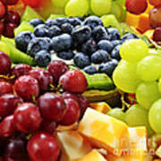 Fresh Fruits And Cheese Print by Elena Elisseeva