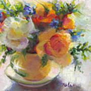 Fresh - Roses In Teacup Print by Talya Johnson