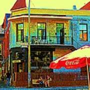 Friends On The Bench At Cartel Street Food Mexican Restaurant Rue Clark Art Of Montreal City Scene Print by Carole Spandau
