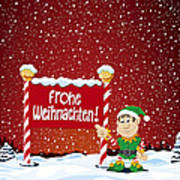 Frohe Weihnachten Sign Christmas Elf Winter Landscape Print by Frank Ramspott