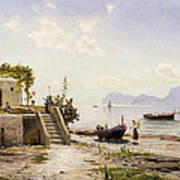 From Sorrento Towards Capri Print by Peder Monsted