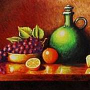 Fruit And Jug Print by Gene Gregory