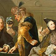 Gamblers In The Foyer Print by Johann Heinrich Tischbein