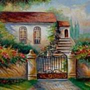 Garden Scene With Villa And Gate Print by Gina Femrite