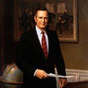 George Hw Bush Presidential Portrait Print by War Is Hell Store