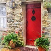 Geraniums By Red Door Print by Susan Savad
