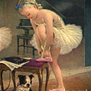 Girl Ballet Dancer Ties Her Slipper With Boston Terrier Dog Print by Pierponit Bay Archives