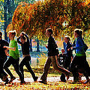Girls Jogging On An Autumn Day Print by Susan Savad