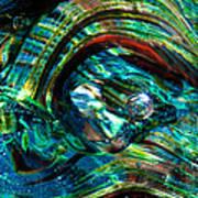 Glass Macro - Blue Green Swirls Print by David Patterson