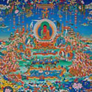 Glorious Sukhavati Realm Of Buddha Amitabha Print by Art School