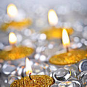 Gold Christmas Candles Print by Elena Elisseeva