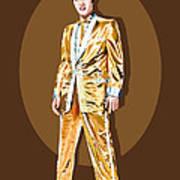 Gold Lamee Elvis Print by Jarod