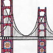 Golden Gate Bridge By Flower Child Print by Michael Friend