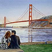 Golden Gate Bridge San Francisco - Two Love Birds Print by Irina Sztukowski