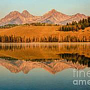 Golden Mountains  Reflection Print by Robert Bales