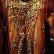 Golden Oriental Dress Print by Mythja  Photography