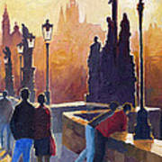 Golden Prague Charles Bridge Print by Yuriy Shevchuk