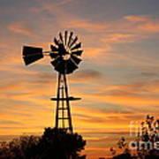 Golden Windmill Silhouette Print by Robert D  Brozek