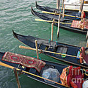 Gondolas Waiting For Tourists In Venice Print by Kiril Stanchev