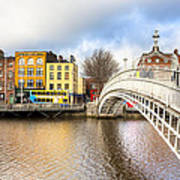 Graceful Ha'penny Bridge Over River Liffey Print by Mark E Tisdale
