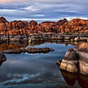 Granite Dells At Watson Lake Arizona 2 Print by Dave Dilli