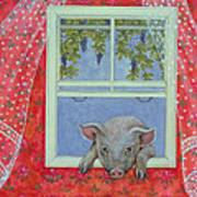 Grapes At The Window Print by Ditz