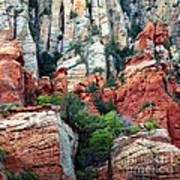 Gray And Orange Sedona Cliff Print by Carol Groenen