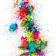 Great Britain Uk Map Paint Splashes Print by Michael Tompsett