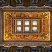 Great Hall Ceiling Library Of Congress Print by Steve Gadomski