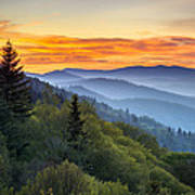 Great Smoky Mountains National Park - Morning Haze At Oconaluftee Print by Dave Allen