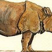 Greated One Horned Rhinoceros Print by Juan  Bosco