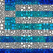 Greek Flag - Greece Stone Rock'd Art By Sharon Cummings Print by Sharon Cummings