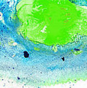 Green Blue Art - Making Waves - By Sharon Cummings Print by Sharon Cummings
