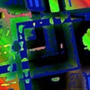 Green Geometric Spots Print by Mario Perez