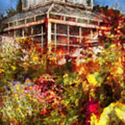 Greenhouse - The Greenhouse And The Garden Print by Mike Savad