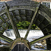 Grist Mill Wheel With Spillway Print by Thomas Woolworth