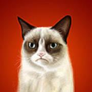 Grumpy Cat Print by Olga Shvartsur